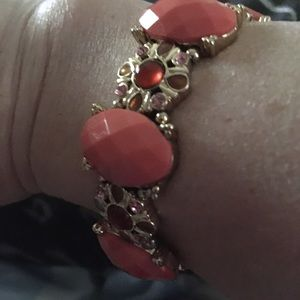 Napier coral and gold bracelet. Stretchy band.